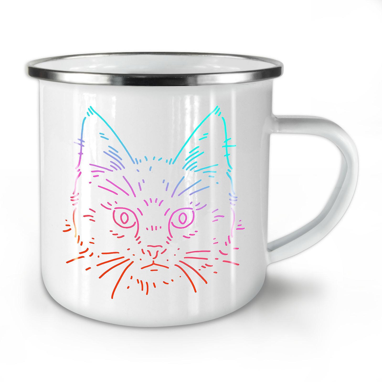 Nouveau Mug10 Chat Animal Face Café Émail Whitetea OzWellcoda gb67fYvy