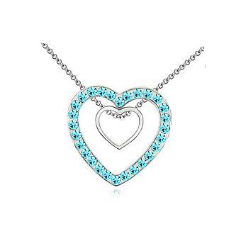 Colgante corazones de plata con collar de cristal azul