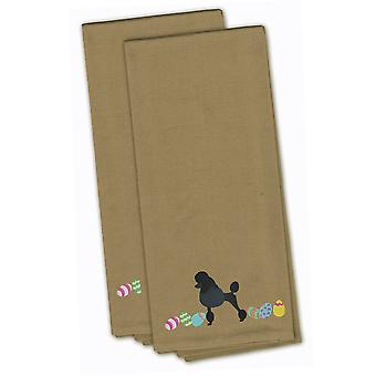 Poodle Easter Tan Embroidered Kitchen Towel Set of 2