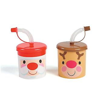12 Cute Christmas Cups with Lids and Straws for Kids