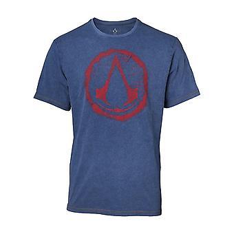 القتلة العقيدة كريست رجالي شعار مزيف الجينز القميص الأزرق X-كبيرة (TS551119ASC-XL)