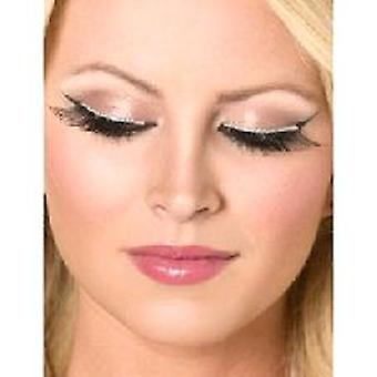 Glitter Eyelashes - Black and Silver - contains Glue