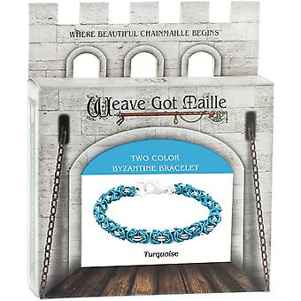 Chainmaille Byzantine Bracelet Jewelry Kit-Turquoise/Turquoise & Silver