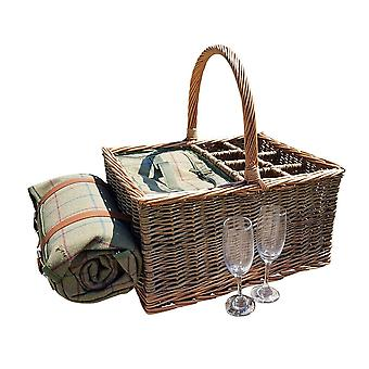 Wicker Event Basket with Blanket and Fitted Cooler