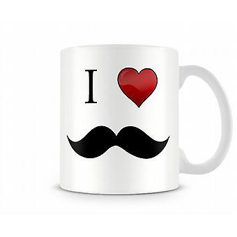 I Love Moustache Printed Mug