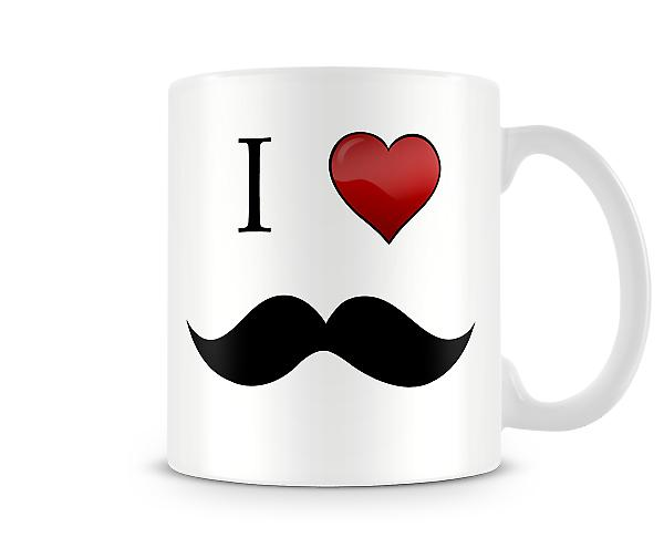 I Love Moustache Printed Mug