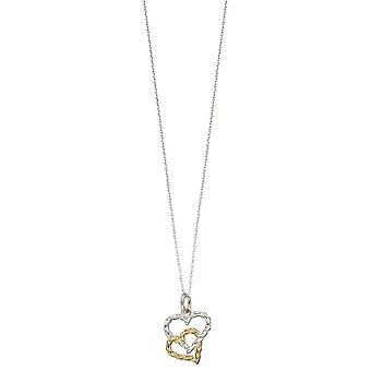 Elements Silver Open Double Rope Heart Pendant - Silver/Gold