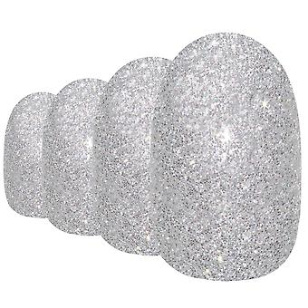 False nails by bling art silver gel oval medium fake acrylic 24 tips with glue