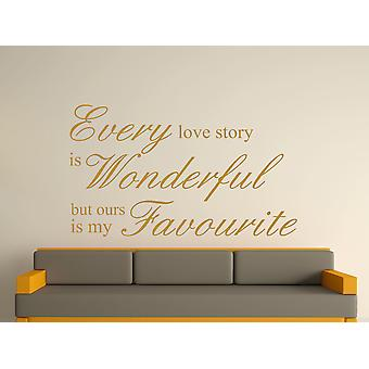 Every Love Story Is Wonderful Wall Art Sticker - Gold