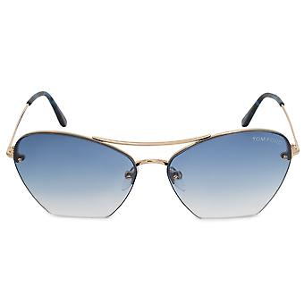 Tom Ford Annabel Aviator Sunglasses FT0507 28W 58 | Rose Gold Frames | Blue Gradient Lenses