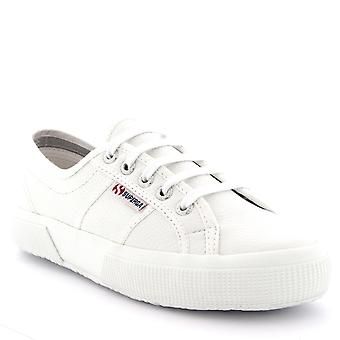 Womens Superga 2750 Efglu Lace Up Leather Low Top White Casual Trainers