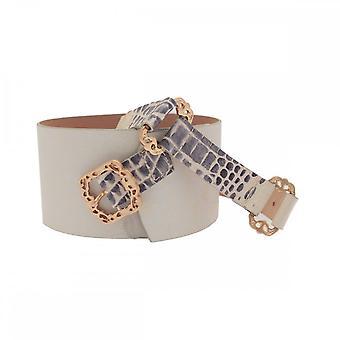 Arcadia cinturón de cuero ancho con hebilla de bronce