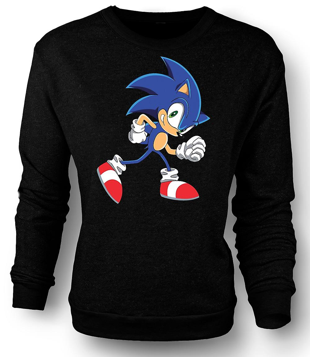 Mens Sweatshirt kjøre Sonic Run - Sonic i Hegehog