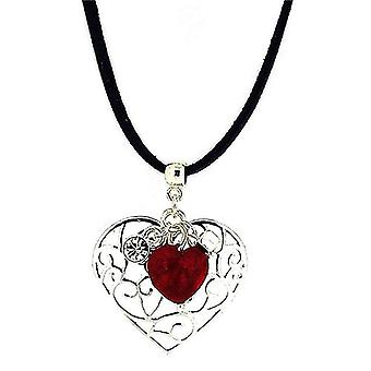 POM Treated Agate Heart Charm Filigree Heart Pendant on Suedette Cord