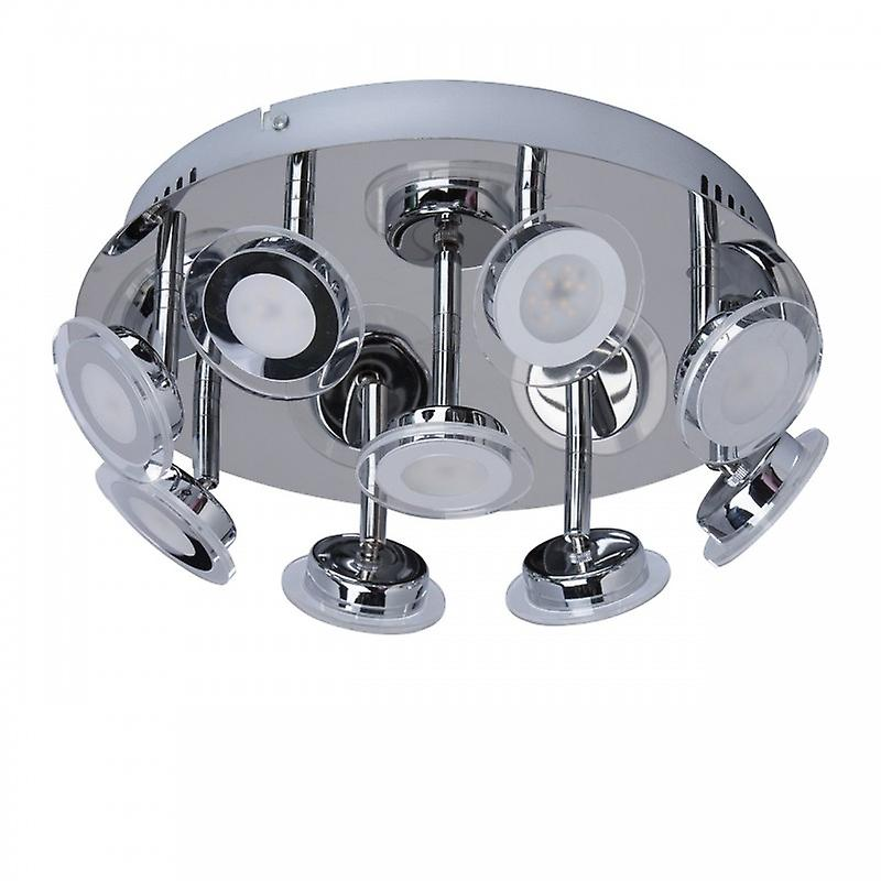 Led 9 Light Round Flush Ceiling Light Chrome, blanc
