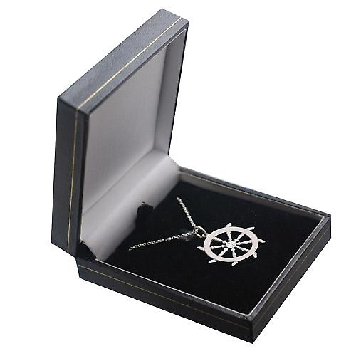 Silver 17mm solid Ships Wheel Pendant with a rolo Chain 14 inches Only Suitable for Children