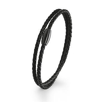 s.Oliver joia mens pulseira aço inoxidável IP 2020895 preto couro