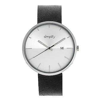 Simplify The 6400 Leather-Band Watch w/Date - Silver