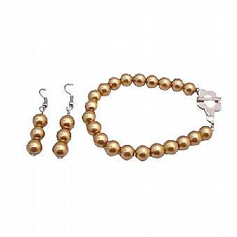 Gyllene pärlor armband & örhängen ange blomma lås armband