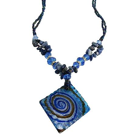 Murano Square Pendant Blue Lapis Stone Chips Nugget Sapphire Crystals