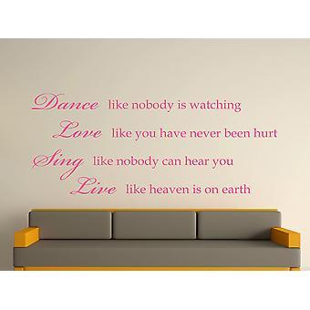 Dance Like Nobody Is Watching Wall Art Sticker - Pink