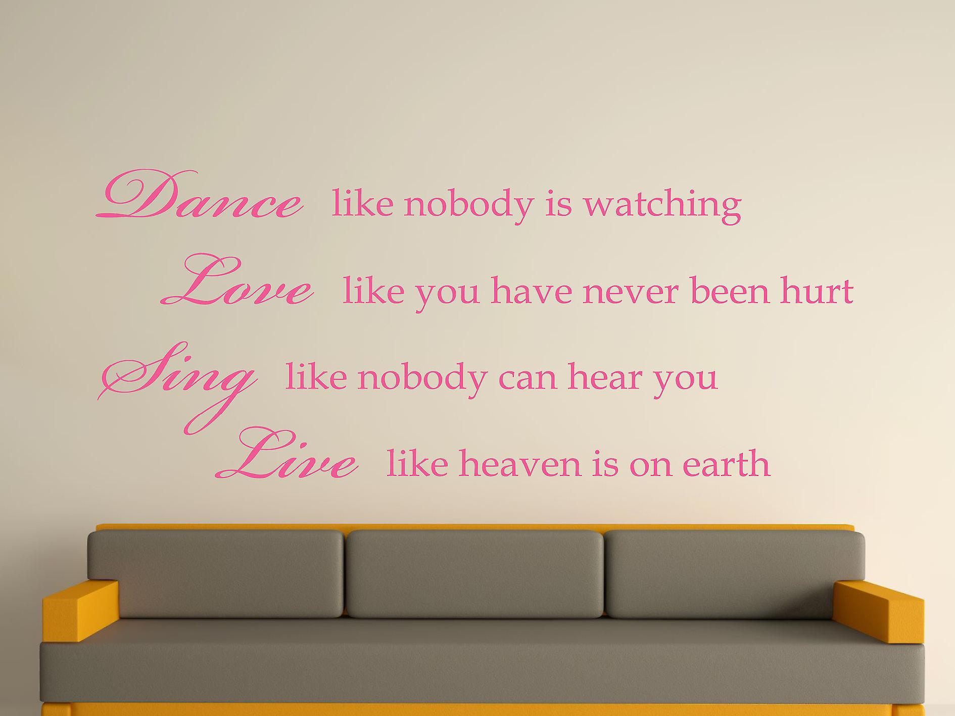 Dance Like Nobody Is Watching Wall Art Sticker - Pink