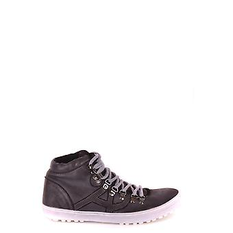 Armani Jeans Grey Leather Hi Top Sneakers
