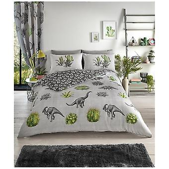 Dinosaur Dreams Reversible Polycotton Duvet Quilt Cover Bedding Set Pillow Case