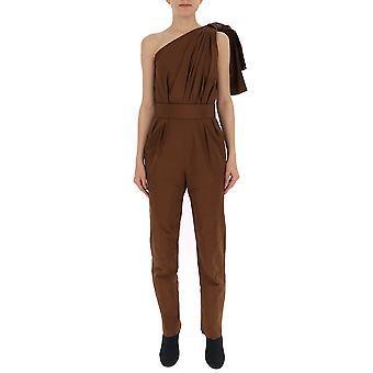 Max Mara Brown Cotton Jumpsuit