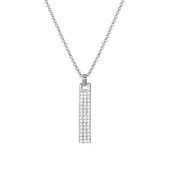 Eternal Collection Incognito Clear Crystal Silver Tone Bar Pendant Necklace