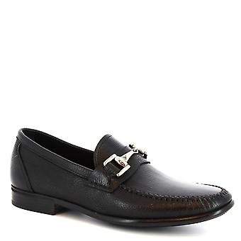 Leonardo Shoes Men's handmade round toe bit loafers in black soft leather