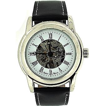 Boxx Gents Roman Numerals Mechanical Skeleton Black Leather Strap Watch Boxx85