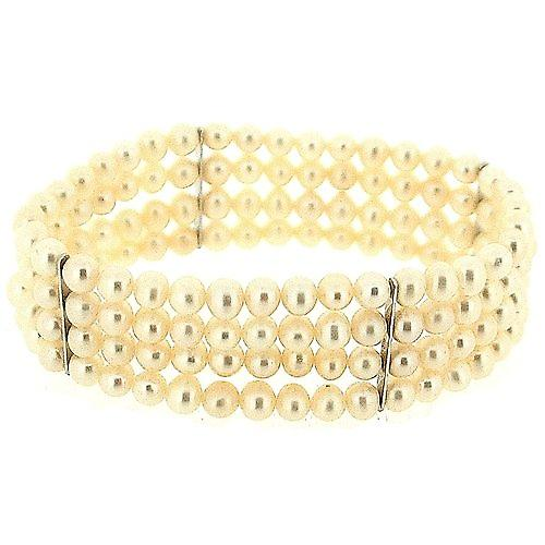 TOC Bleached White Spherical Freshwater Cultured Pearl 4 Row Stretch Bracelet