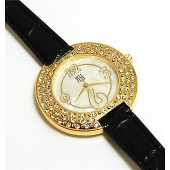 Yess Black and Gold Ladies Elegant Round Crystal Set Fashion Watch F48363