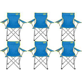 6 イエロー折りたたみビーチチェアでキャンプ、釣りやビーチ - ブルーします。