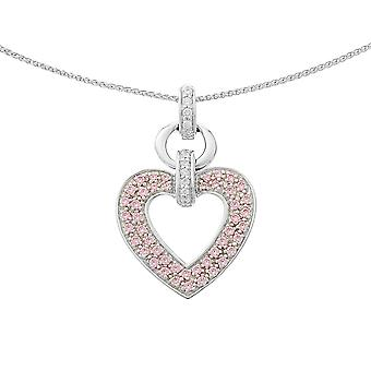PENDANT WITH CHAIN 925 SILVER HEART PINK ZIRCONIUM