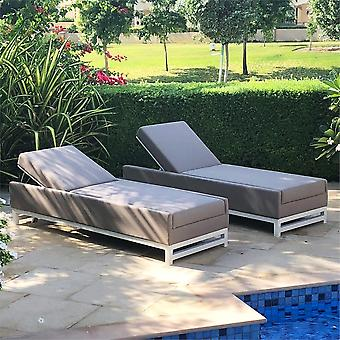 Maze Lounge All Weather Fabric Taze Sun Lounger in Taupe With White Frame