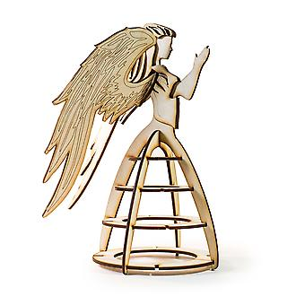 Crafts - angel christmas tree topper - model kit raw wood 9x6x8in
