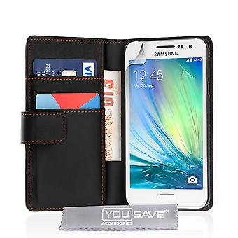 Yousave Accessories Samsung Galaxy A3 (2016) LeatherEffect Wallet Case Black