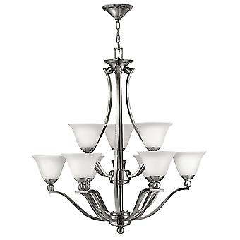 Bolla Modern 9 Arm Chandelier with Etched Opal Glass Shades