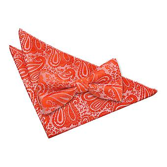 Paisley Orange brûlé noeud papillon & mouchoir de poche Set