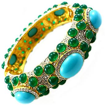 Kenneth Jay Lane Gold & Crystal Emerald & Turquoise Hinged Bracelet