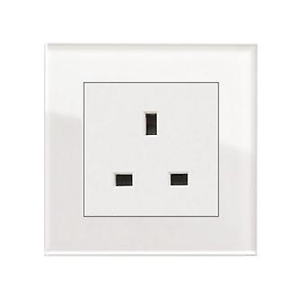 I LumoS AS Luxury White Crystal Glass Single Unswitched Wall Plug 13A UK Sockets