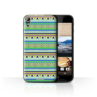 STUFF4 Case/Cover for HTC Desire 830/Green/Purple/Aztec Tribal Pattern
