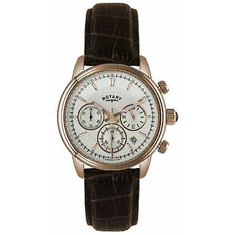 Rotary Mens Gold Plate White Dial Brown Leather Chronograph GS02879/06 Watch
