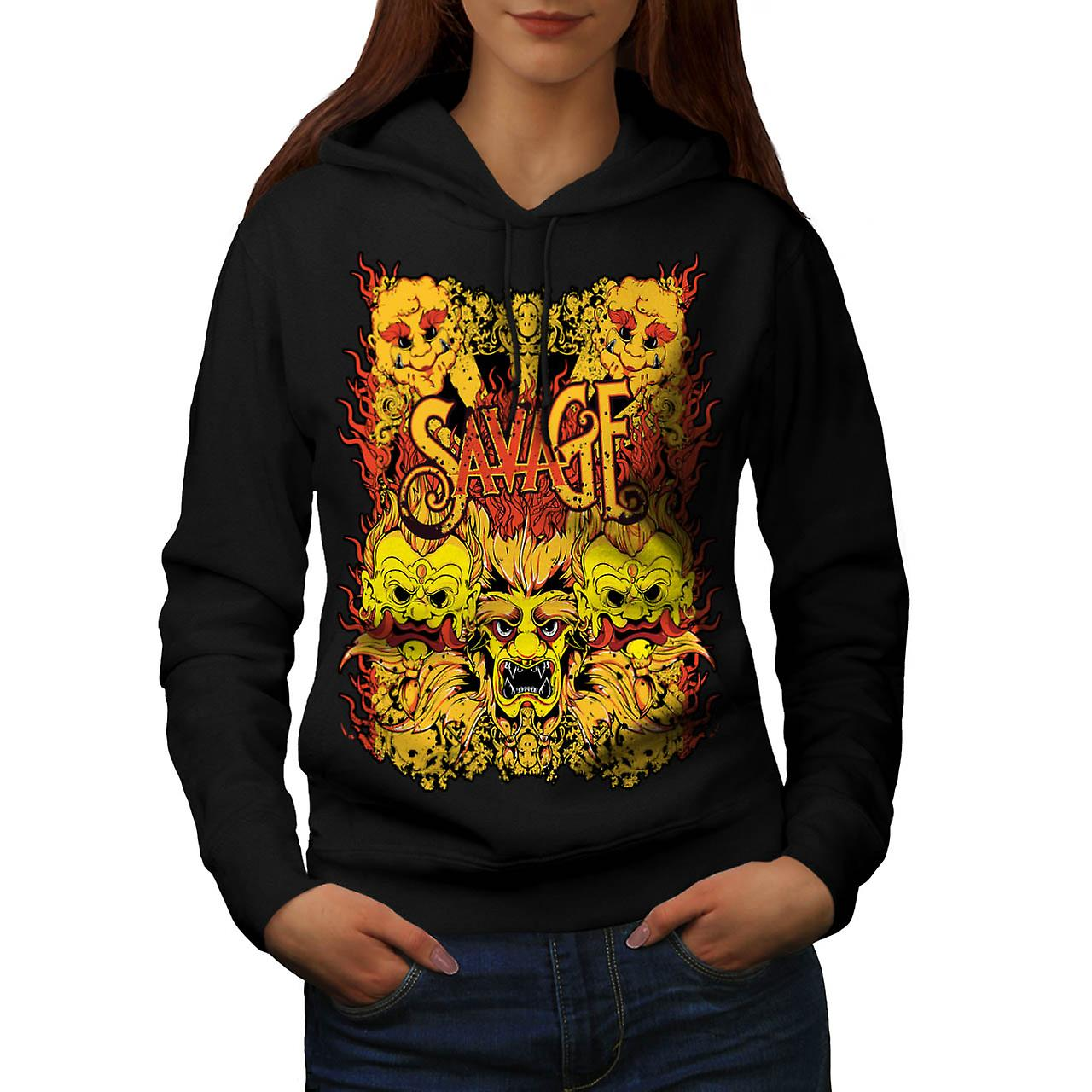 Savage Samurai Mask Asian Parade Women Black Hoodie | Wellcoda
