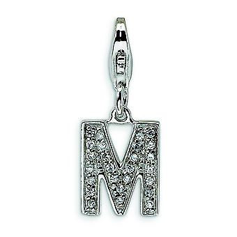 Sterling Silver Solid Rhodium-plated Not engraveable Fancy Lobster Closure Cubic Zirconia Letter M With Lobster Clasp Ch