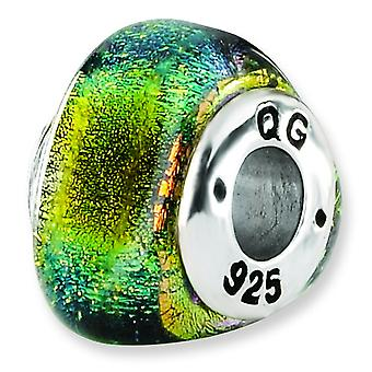 Sterling Silver Reflections Yellow Dichroic Glass Triangle Bead Charm