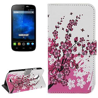 Cover cell phone case (flip cross) for mobile WIKO Furthermore Knight winter flowers