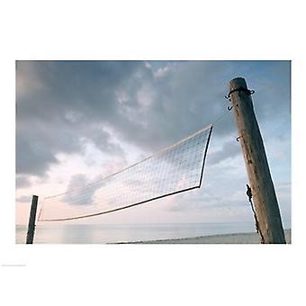 Rete di pallavolo sulla spiaggia stampa Poster (24 x 18)
